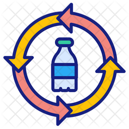 Plastic recycling Colored Outline Icon