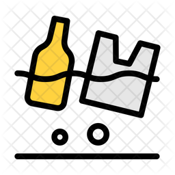 Plastic Waste Colored Outline Icon