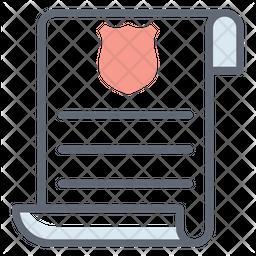 Police Document Line Icon