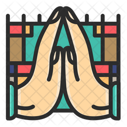Pray Colored Outline Icon