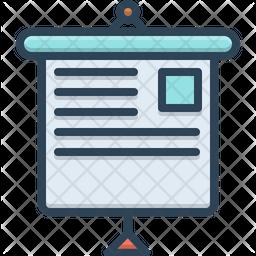 Presentation Screen Colored Outline Icon