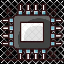 Processor Chip Colored Outline Icon