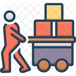 Pulled Cargo Colored Outline Icon