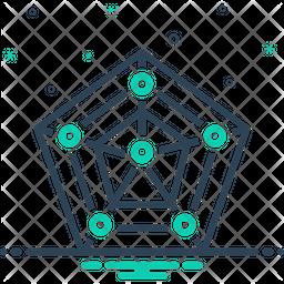 Radar Chart With Pentagon Shape Icon