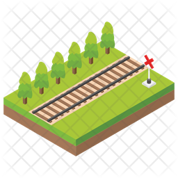 Railway Track Flat Icon