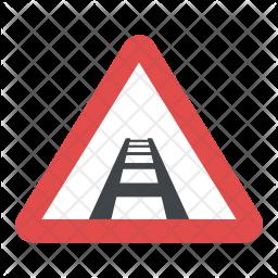 Railway Track Sign Flat Icon