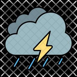 Rain Storm Colored Outline Icon