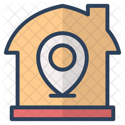 Real Estate Location Colored Outline Icon