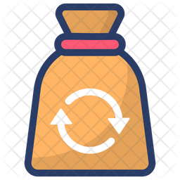 Recycling Sack Colored Outline Icon