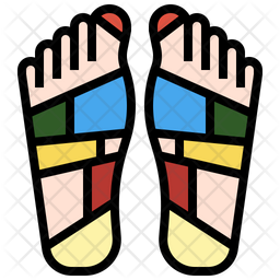 Reflexology Colored Outline Icon