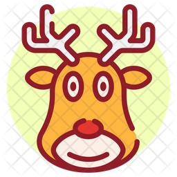 Reindeer Colored Outline Icon