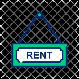 Rent sign Line Icon