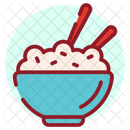 Rice Bowl Colored Outline Icon