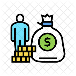 Rich Human Colored Outline Icon