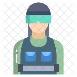 Riot Police Woman Flat Icon