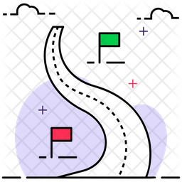 Road Map Colored Outline Icon