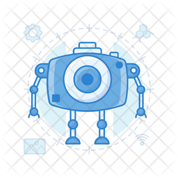 Robot Camera Colored Outline Icon