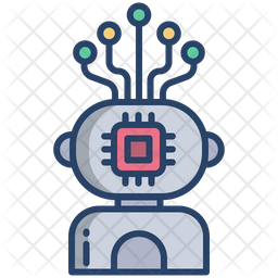 Robot Chip Colored Outline Icon
