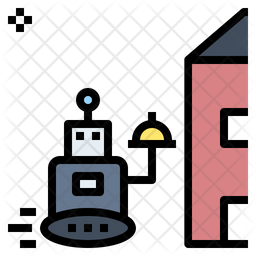 Robotic Delivery Colored Outline Icon