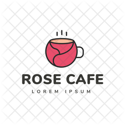 Rose Cafe Colored Outline  Logo Icon