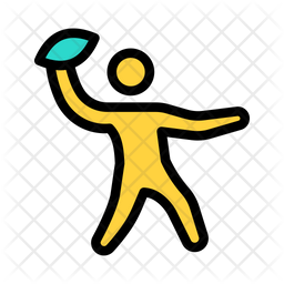Rugby Player Colored Outline Icon