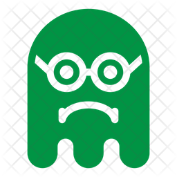 Sad geek Flat  Emoji Icon
