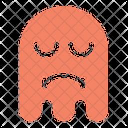 Sad tired Flat  Emoji Icon