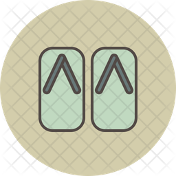 Sandals Colored Outline Icon