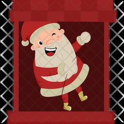 Santa In Window Sticker Icon