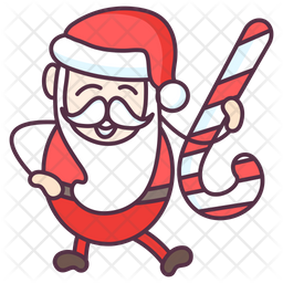 Santa with Candy Cane Icon