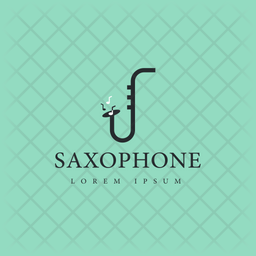 Saxophone Logo Colored Outline Icon