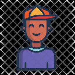 Schoolboy Colored Outline Icon