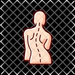 Scoliosis Colored Outline Icon