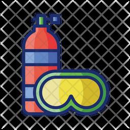 Scuba Dive Colored Outline Icon