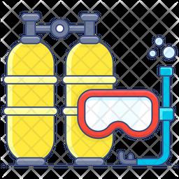 Scuba Diving Colored Outline Icon