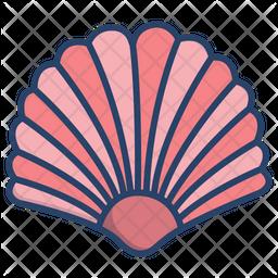Sea Shell Colored Outline Icon