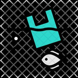 Sea Waste Colored Outline Icon