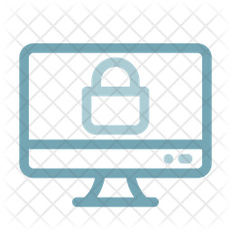Secure PC Line Icon