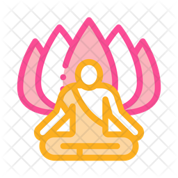 Shaman Of Meditation Colored Outline Icon