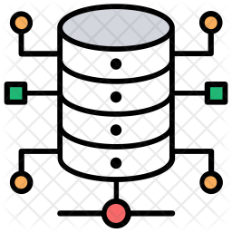 Shared data network Colored Outline Icon