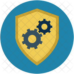 Shield with gear wheels Icon