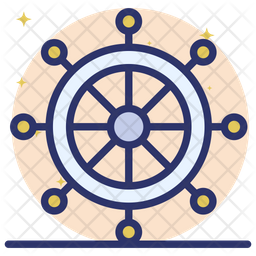 Ship Helm Colored Outline Icon