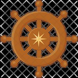 Ship Helm Flat Icon