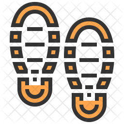 Shoe Print Colored Outline Icon