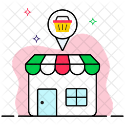 Shop Location Colored Outline Icon