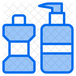 Shower Cream And Mouthwash Colored Outline Icon