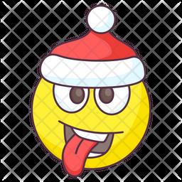 Silly Santa Emoji Colored Outline  Emoji Icon