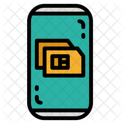 Sim Card Colored Outline Icon