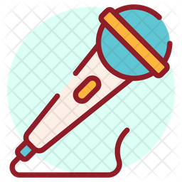 Singing Mic Colored Outline Icon