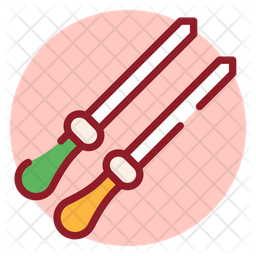Skewers Sticks Colored Outline Icon